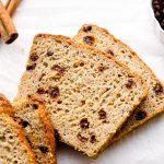 Slices of gluten free cinnamon raisin bread.