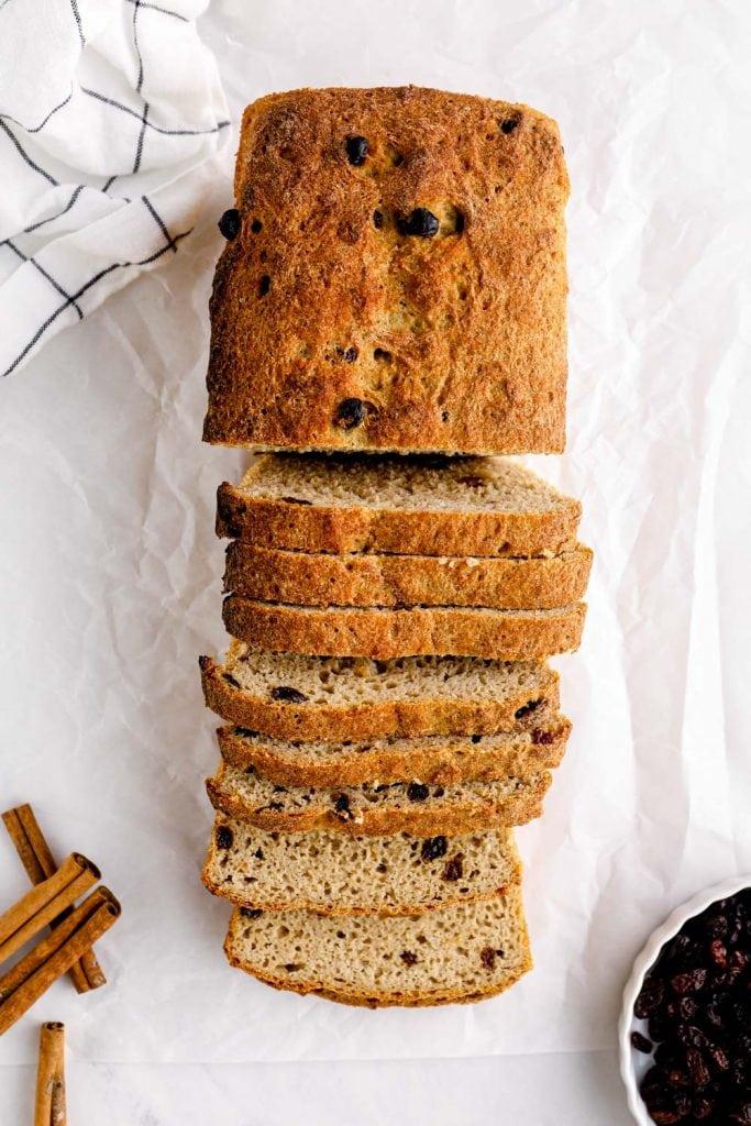 Sliced gluten free cinnamon raisin bread.