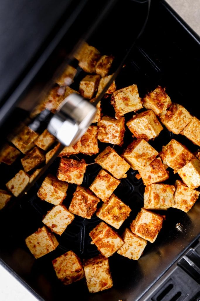 Seasoned tofu in the air fryer.