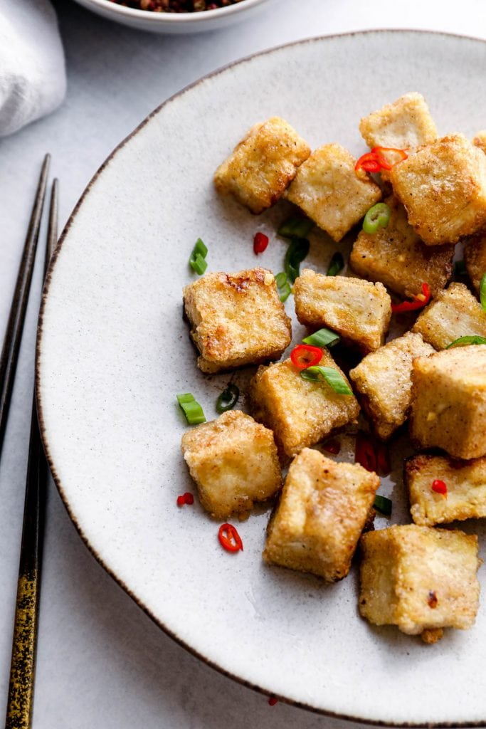 Salt and pepper tofu with Szechuan peppercorns.
