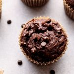 Chocolate Muffins on a grey background.