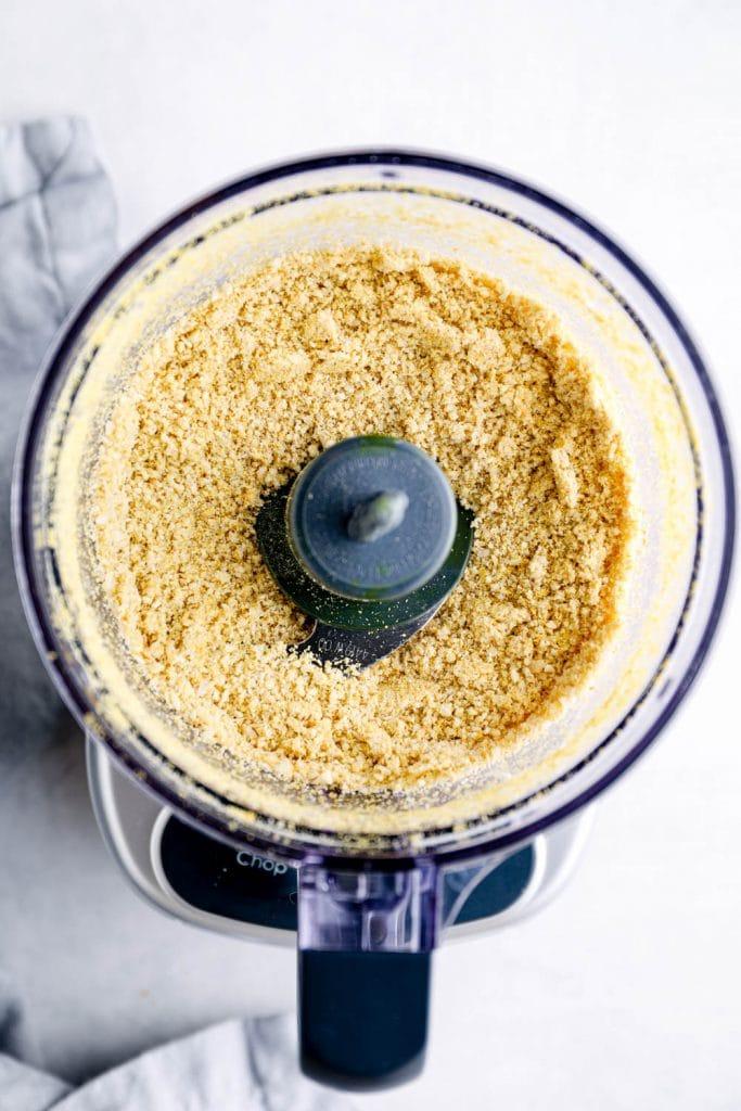 Vegan parmesan in a food processor.