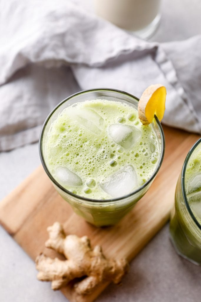 A pineapple matcha drink with ginger.