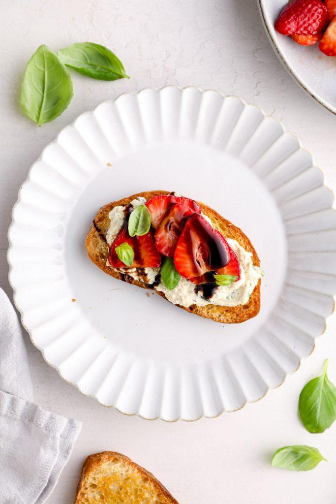 Balsamic strawberry bruschetta with basil.