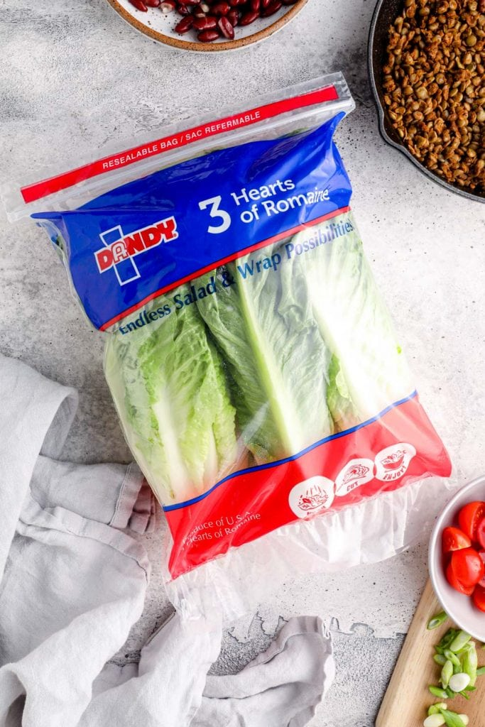 A bag of Dandy 3 Hearts of Romaine.