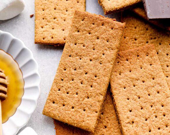 Gluten free graham crackers with marshmallows, honey, and dark chocolate.