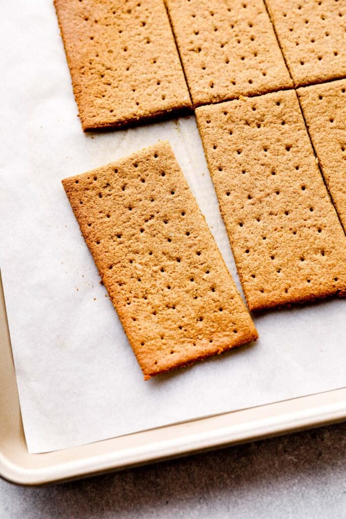 Just baked gluten free graham crackers on the sheet pan.