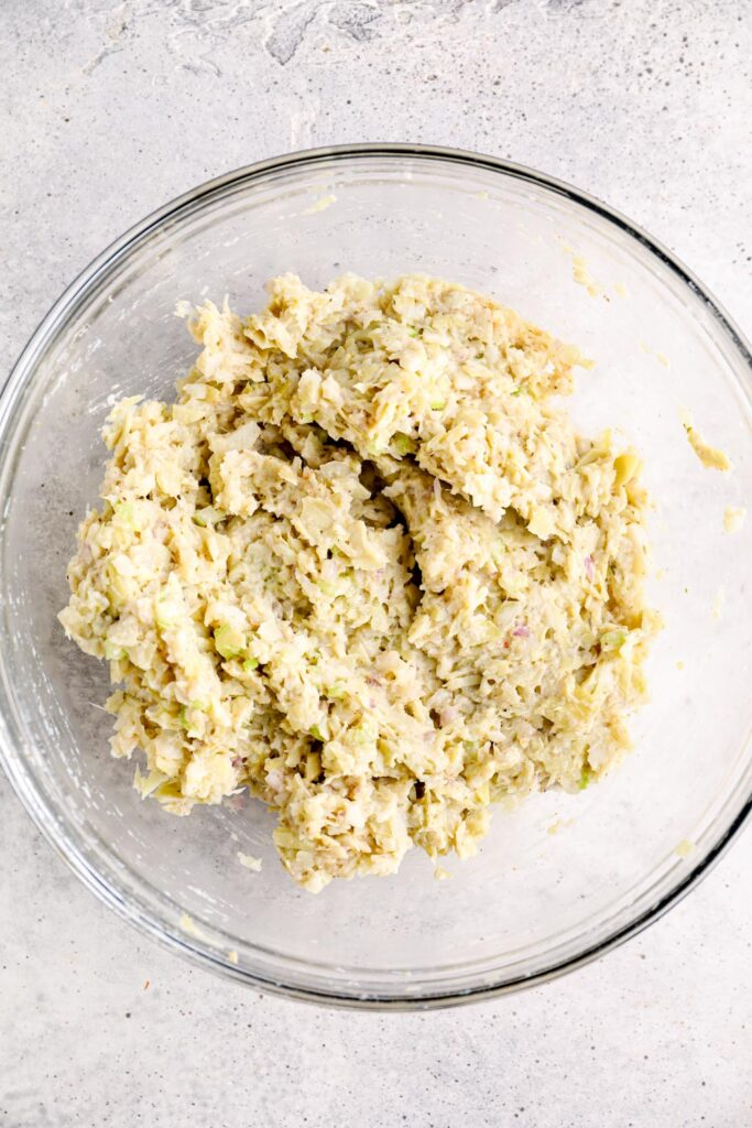 Vegan crab cake mixture in a bowl.