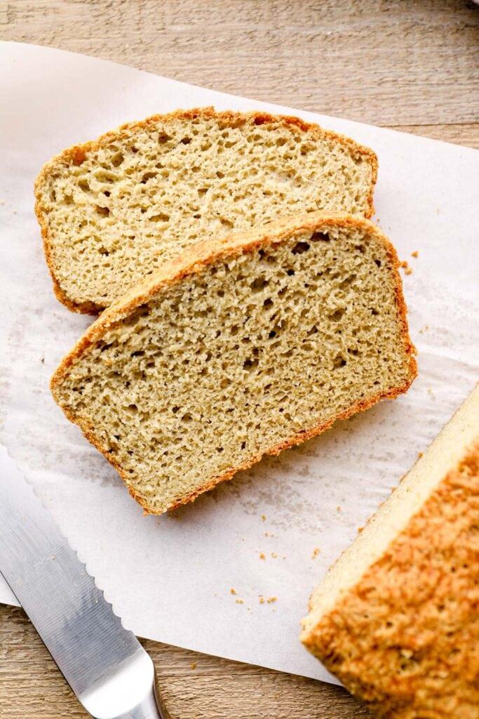 Sliced gluten free buckwheat bread.