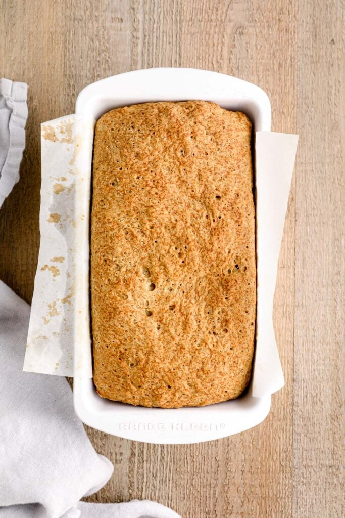 Baked buckwheat bread in a while pan.