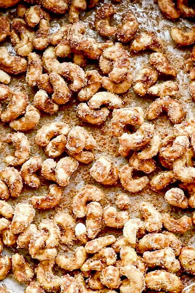 Candied cashews crystalized with maple syrup.
